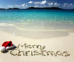 christmas, beach, and merry christmas image