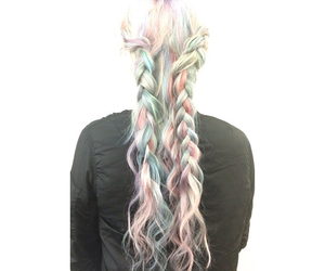 blue hair, green hair, and pastel goth image
