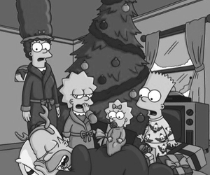 black and white, christmas, and the simpsons image