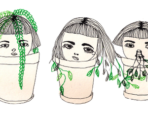 plants, girl, and art image