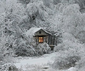 winter, log cabin, and snow image
