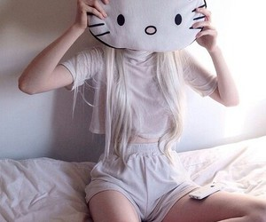 girl, hello kitty, and hipster image