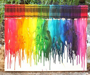 art, crayon, and rainbow image