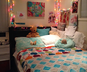 bed, decorating, and pillows image