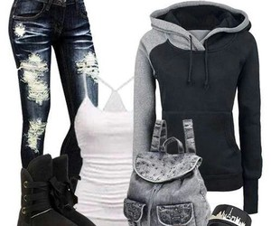 outfit, clothes, and jeans image