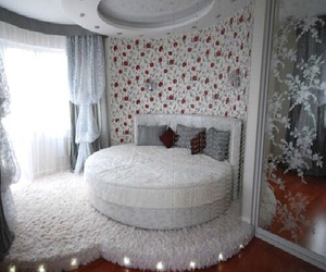 bed, bedroom, and decoration image