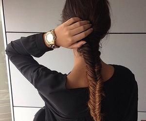 hair, braid, and watch image
