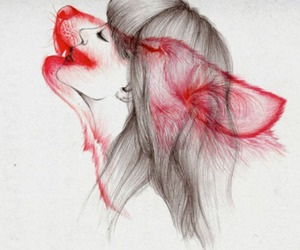 girl, wolf, and red image