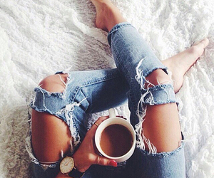 coffee, fashion, and jeans image