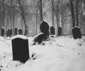 black and white, cemetery, and snow image