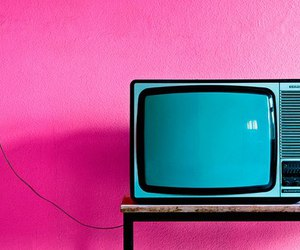 pink, tv, and blue image