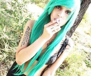 alt girl, dyed hair, and colorfull hair image
