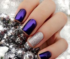 nails, purple, and christmas image