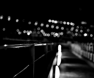 black and white, night, and light image