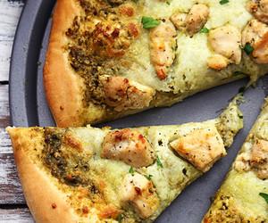 Chicken, pizza, and pesto image