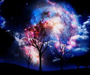 tree, sky, and galaxy image