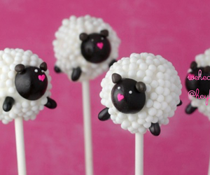 sheep, cake, and cake pops image