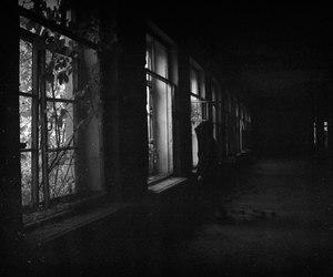 black and white, grunge, and dark image