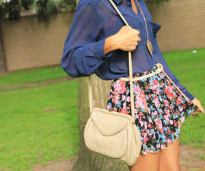 floral, skirt, and bag image