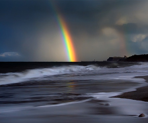 rainbow, beach, and photography image