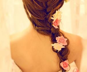braid, hair, and flower image