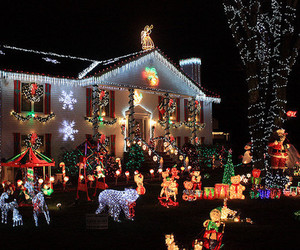 christmas, christmas lights, and snow image