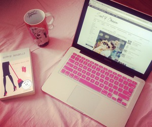 pink, book, and coffe image