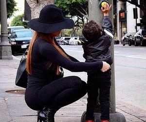 fashion, mom, and black image