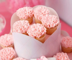 cupcakes, dessert, and pink image