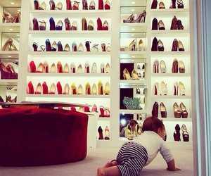 baby, dressing room, and high heels image