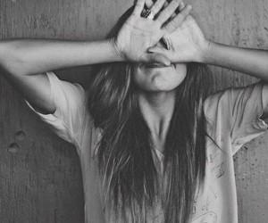 black & white, girl, and long image
