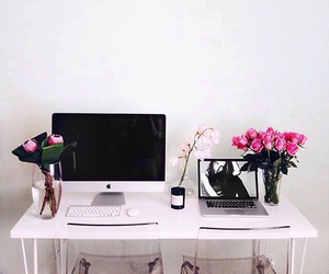 flowers, pink, and apple image