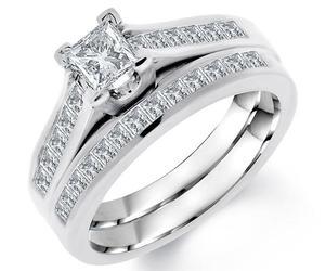 los angeles, princess cut diamond, and diamond bridal set image