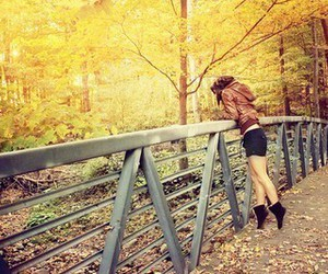 girl, autumn, and bridge image