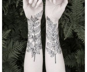 tattoo, leaves, and hands image