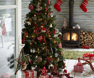 fireplace, tree, and christmas image