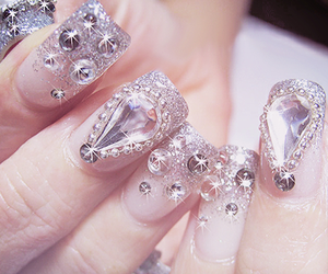 nails, bling, and pretty image