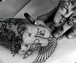 art, drawing, and finger tattoo image
