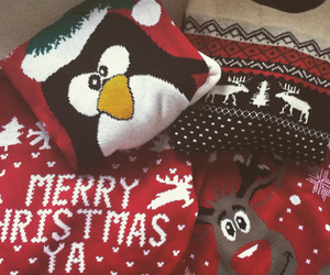 christmas, jumper, and penguin image