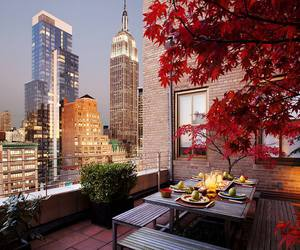 skyscrapers, table, and tree image