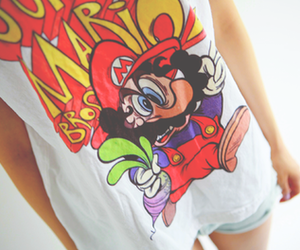girl, mario, and t-shirt image