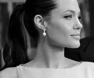 actress, Angelina Jolie, and blackandwhite image