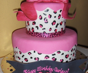 cake, pink, and leopard print image