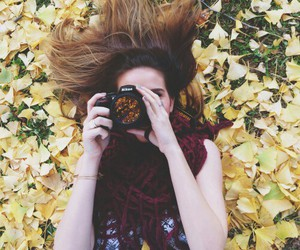 fall, girl, and leafs image
