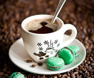 coffee, green, and macaroons image