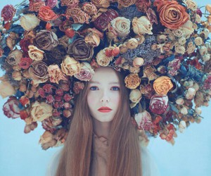 fall, flowers, and head image