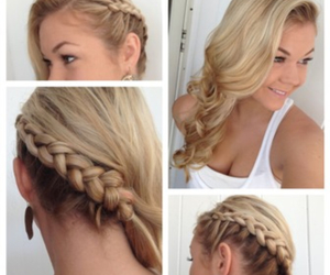 blonde, braid, and curls image