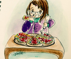 art, pizza, and draw image