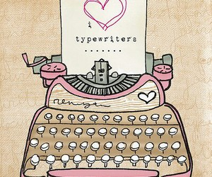 typewriter, heart, and pink image