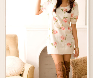 fashion, dress, and floral image